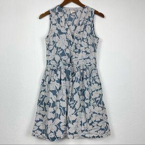 Gap Blue Floral Stripes Button Down Tie Sundress
